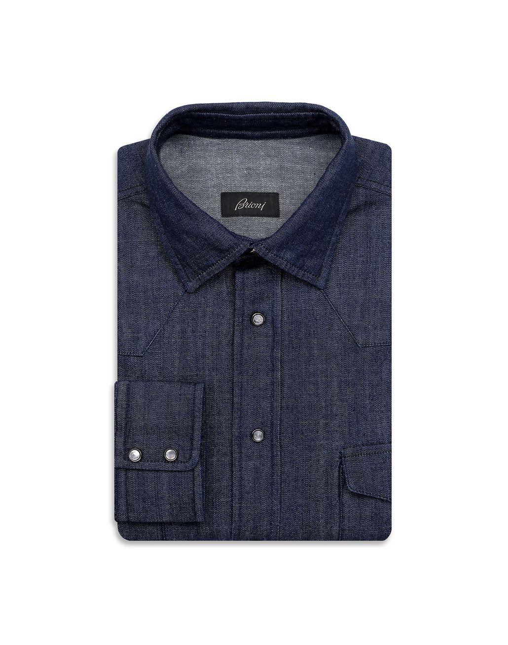 BRIONI Navy Blue Denim Shirt Shirt [*** pickupInStoreShippingNotGuaranteed_info ***] f
