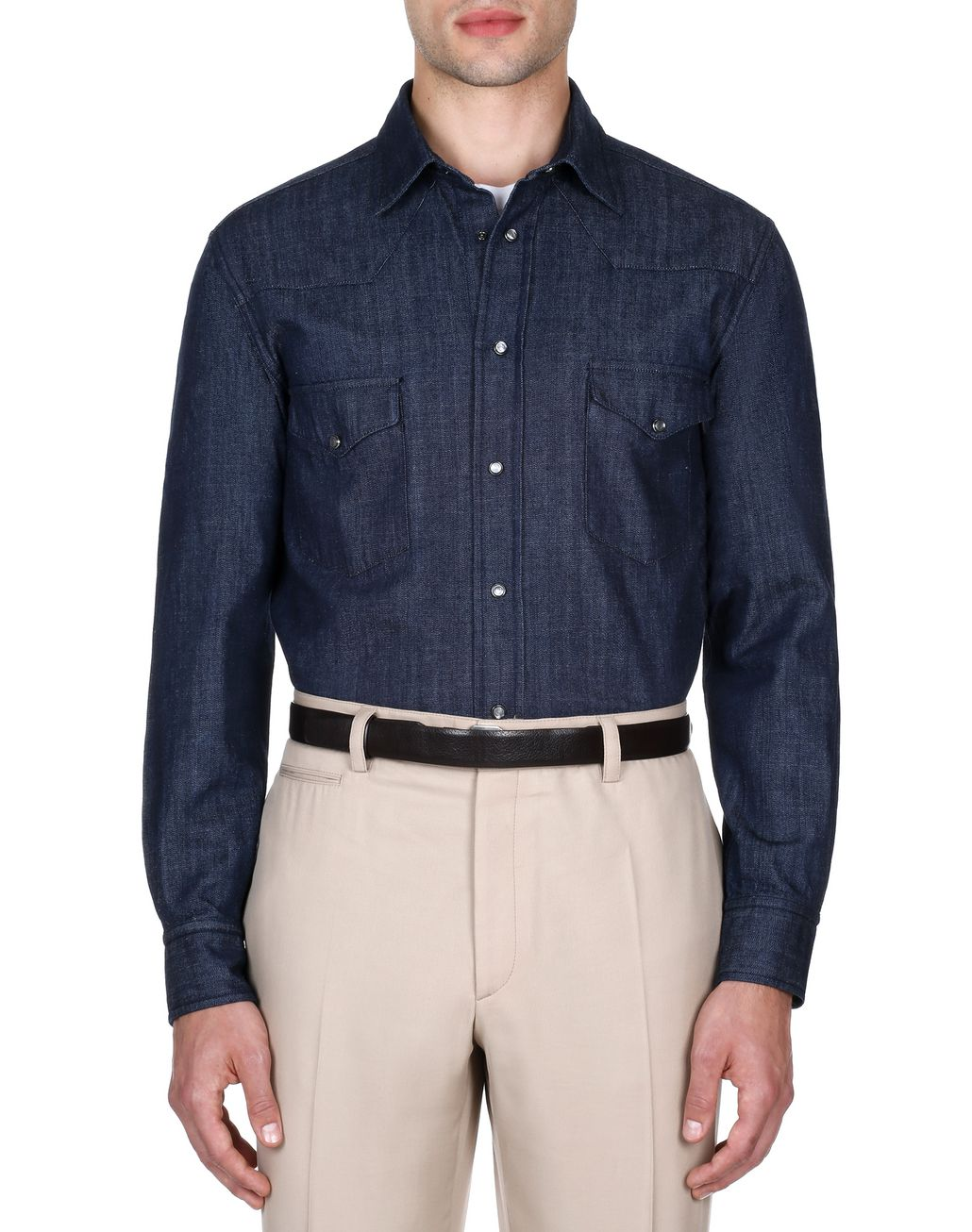 BRIONI Navy Blue Denim Shirt Shirt Man r