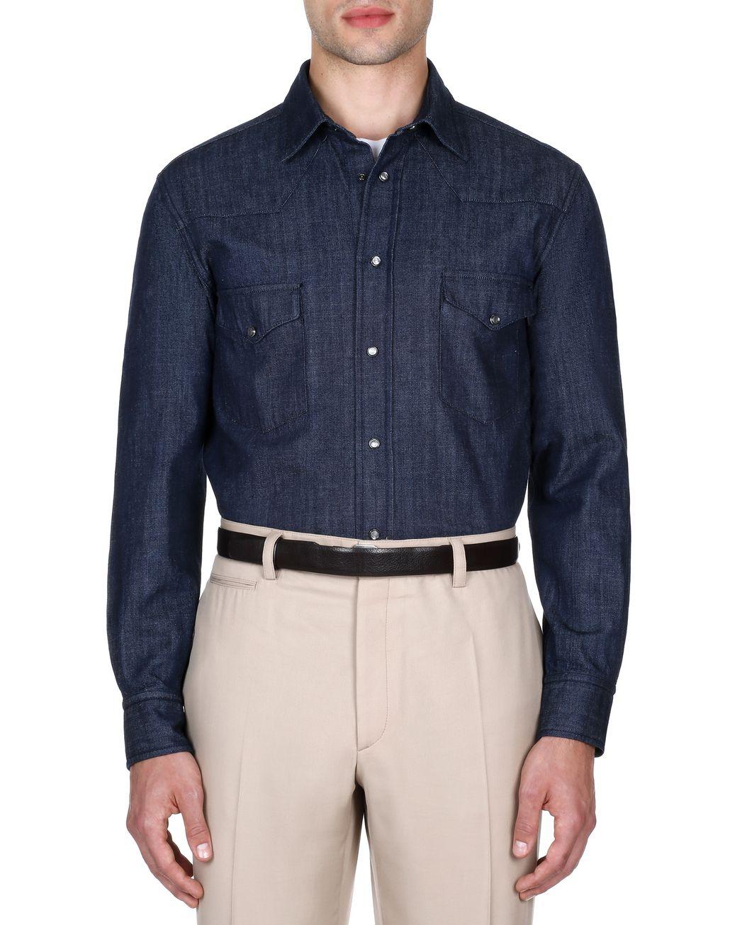BRIONI Тёмно-синяя джинсовая рубашка Pубашка [*** pickupInStoreShippingNotGuaranteed_info ***] r