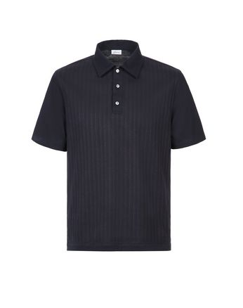 Navy Blue Striped Polo Shirt