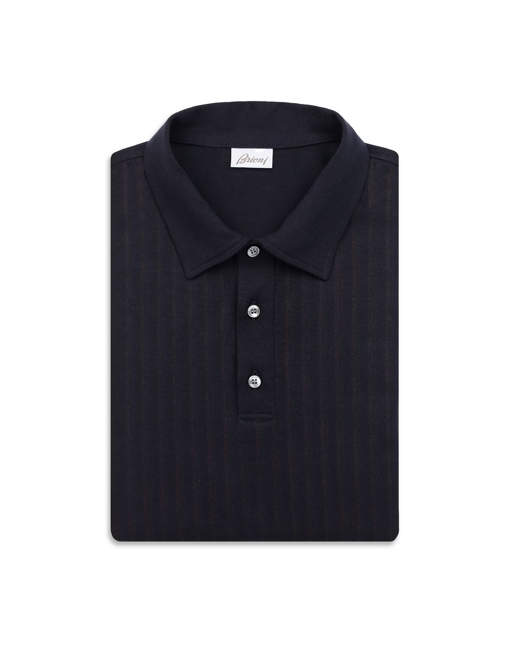 BRIONI Navy Blue Striped Polo Shirt T-Shirts & Polos Man e
