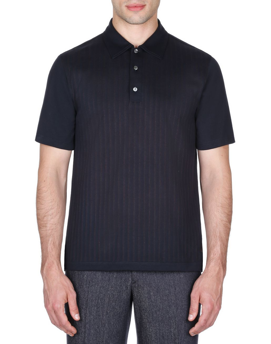 BRIONI Navy Blue Striped Polo Shirt T-Shirts & Polos Man r