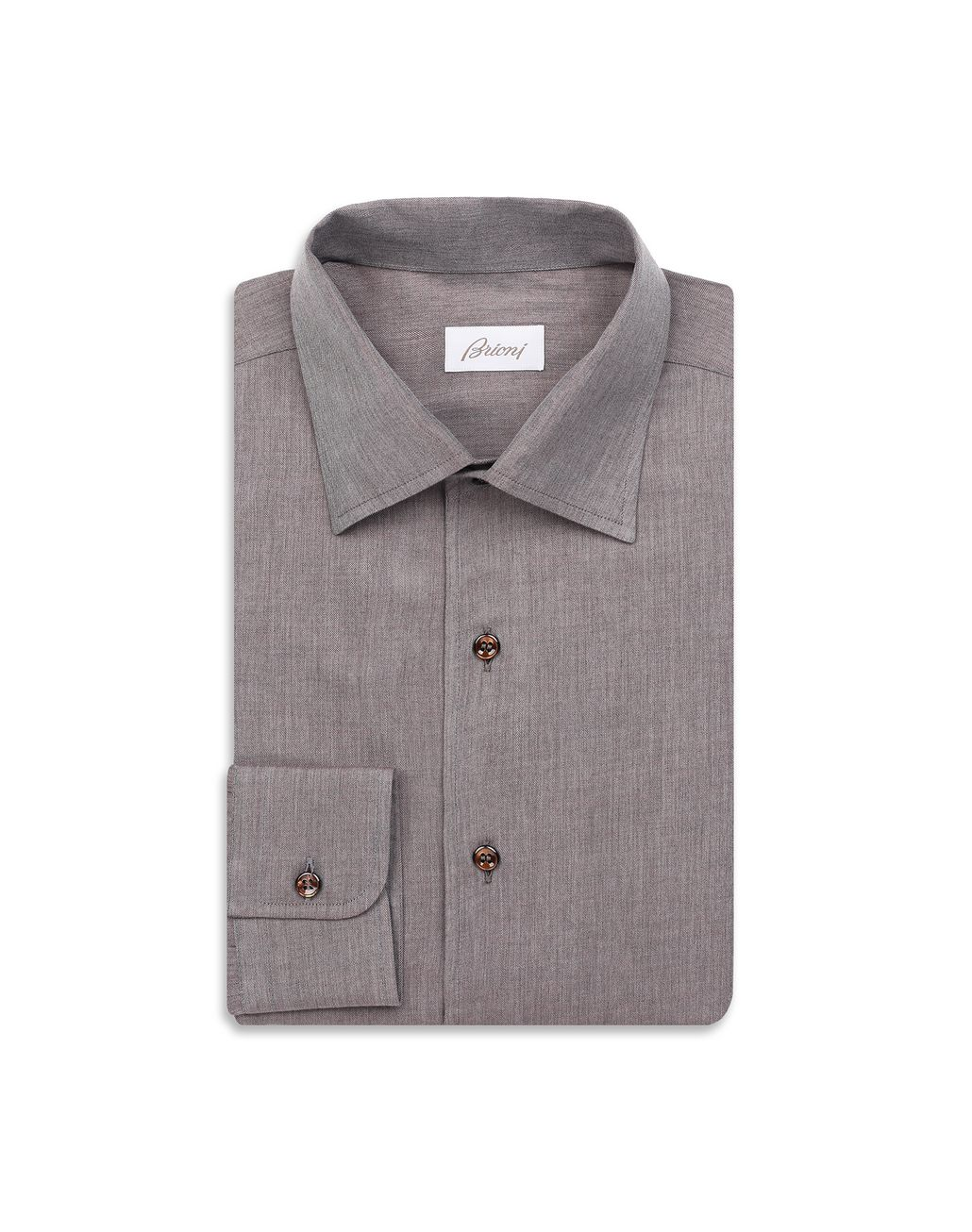 BRIONI Brown Slim Fit Shirt Leisure shirt Man f