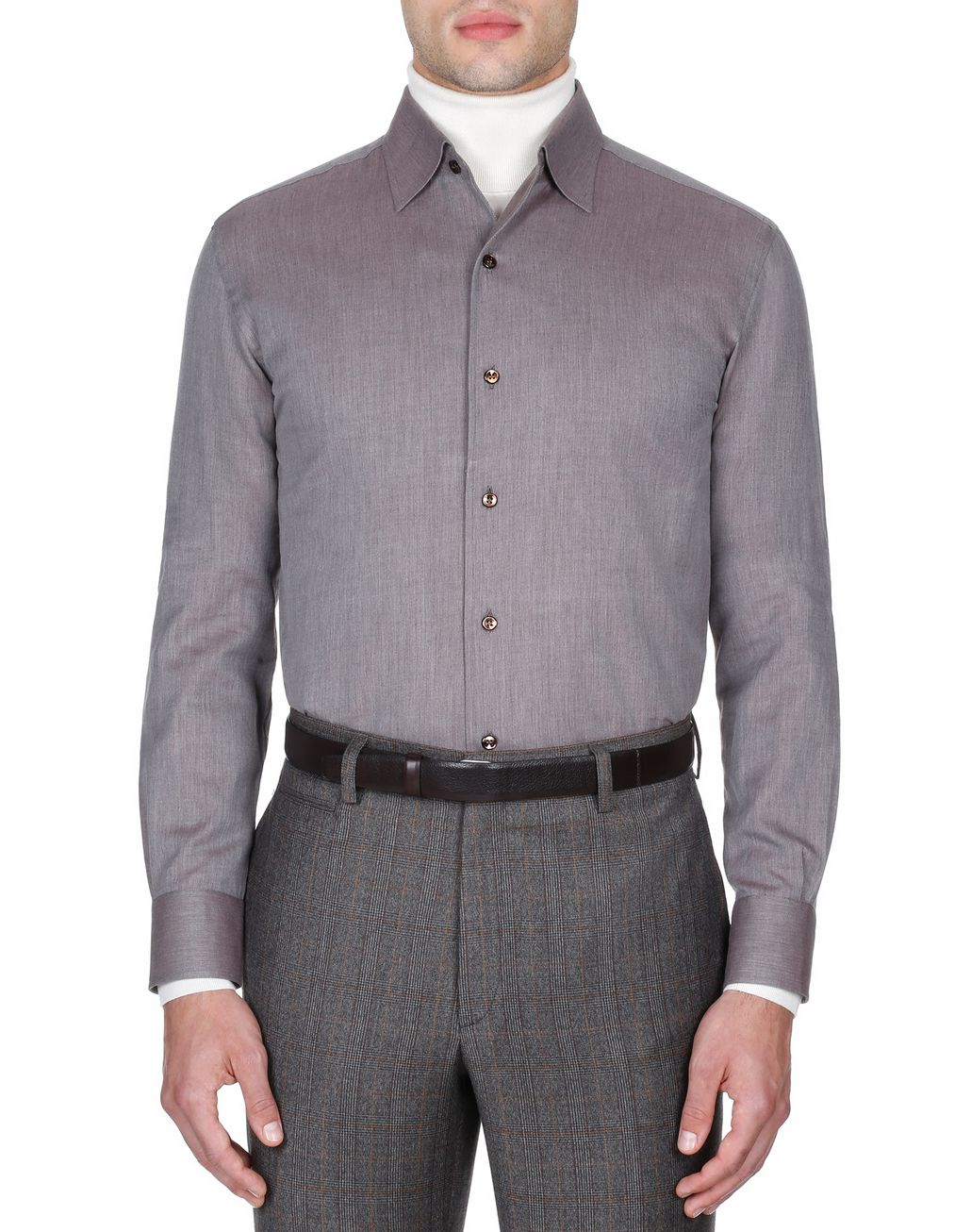 BRIONI Brown Slim Fit Shirt Leisure shirt Man r
