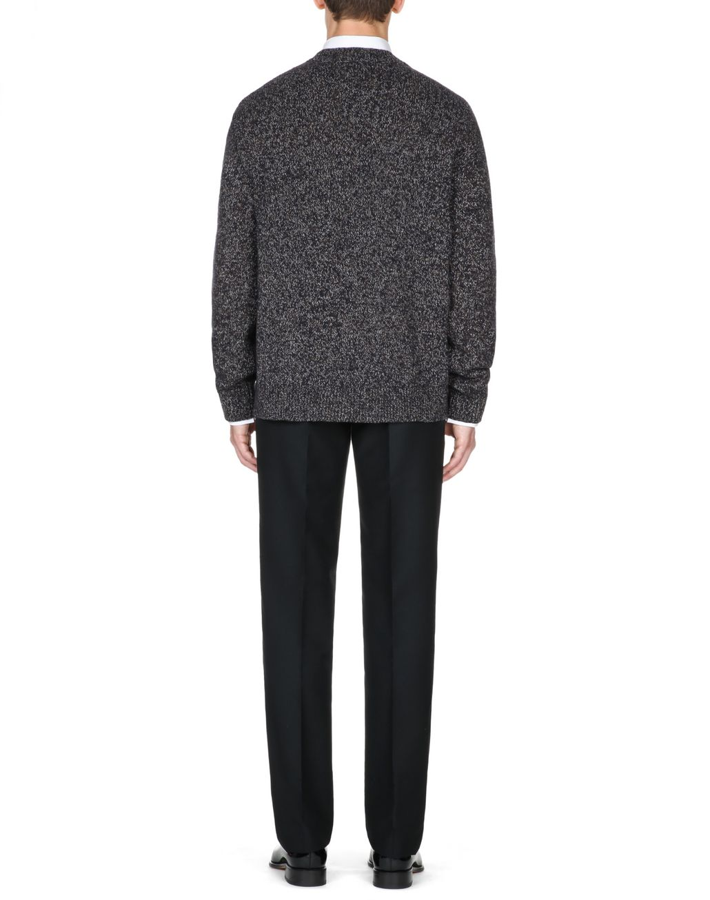 BRIONI Brown and Blue Melange Sweater Knitwear Man d