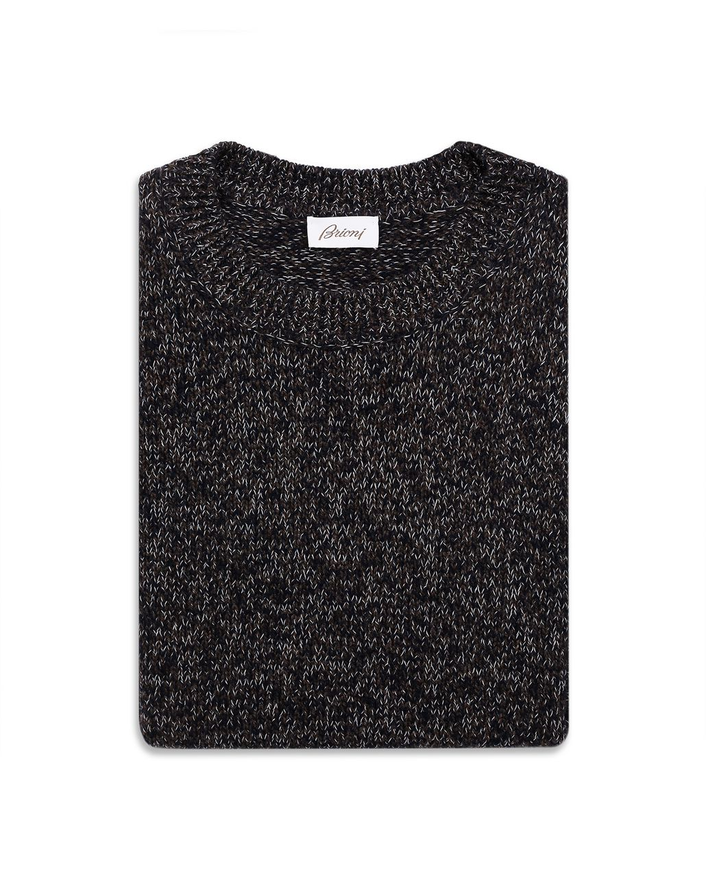 BRIONI Brown and Blue Melange Sweater Knitwear Man e