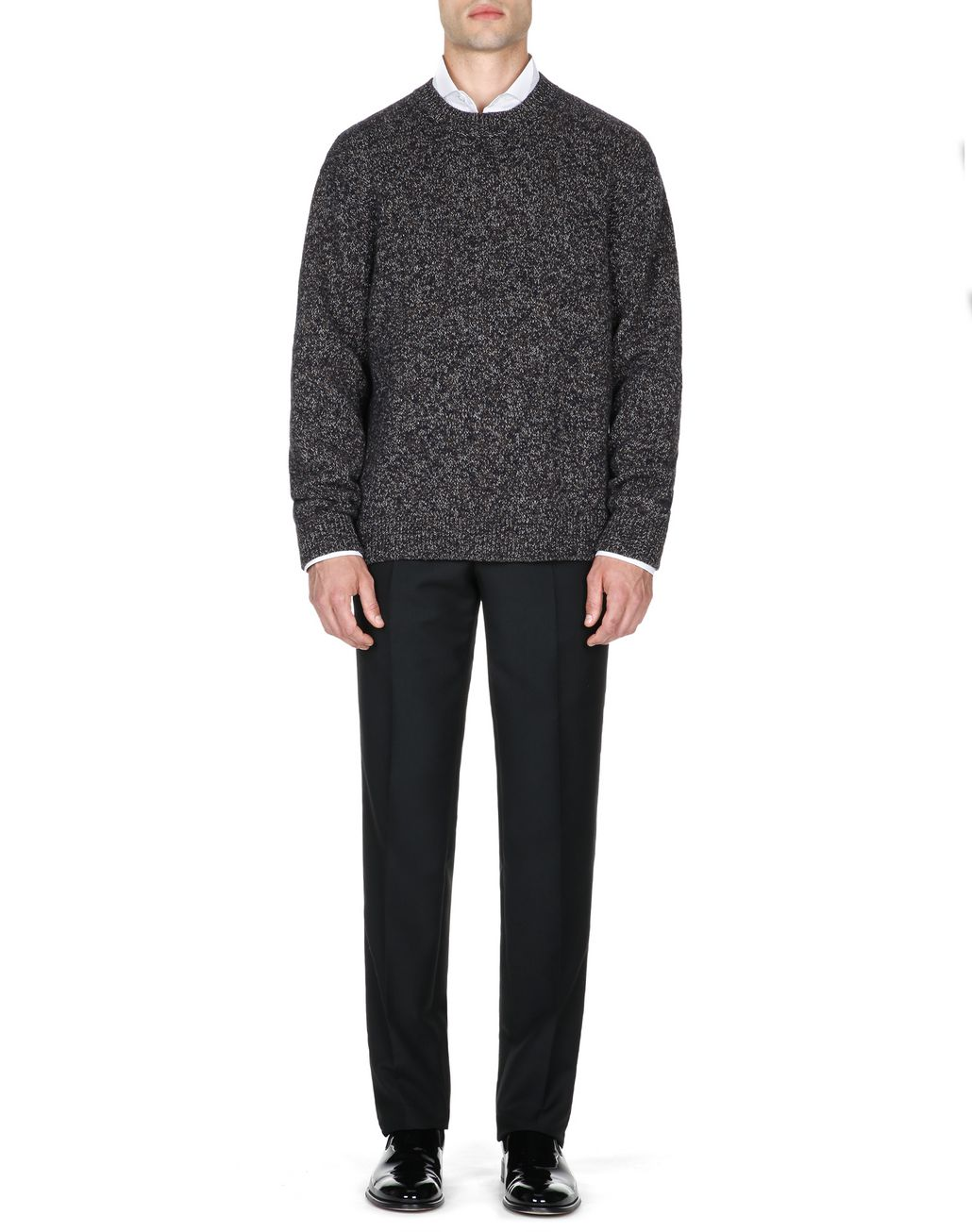 BRIONI Brown and Blue Melange Sweater Knitwear Man r