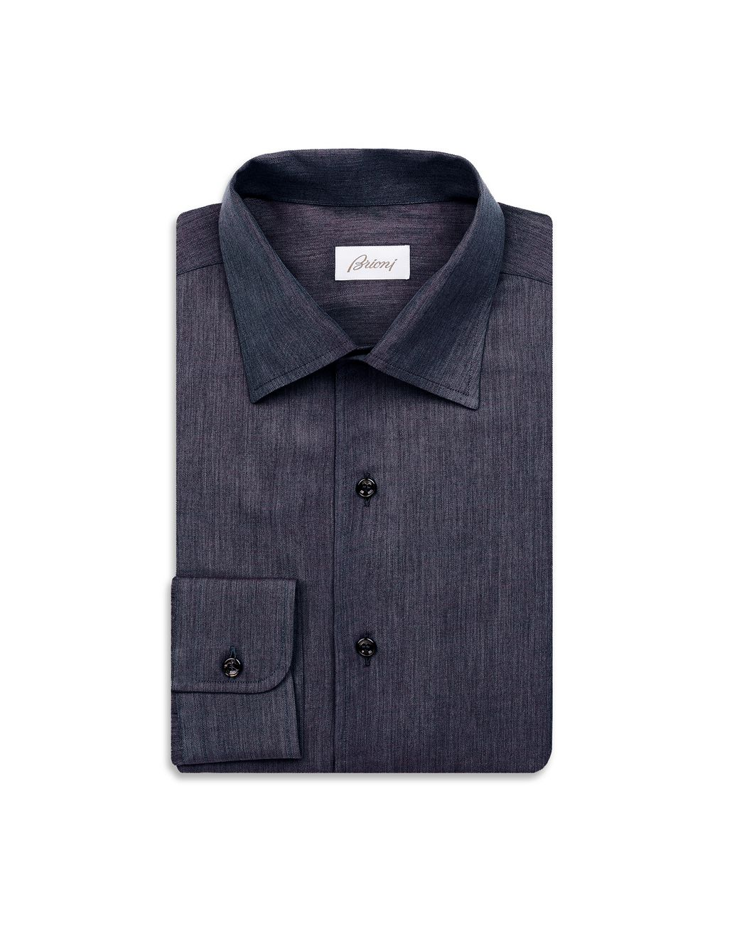 BRIONI Navy Blue Slim Fit Shirt Leisure shirt Man f