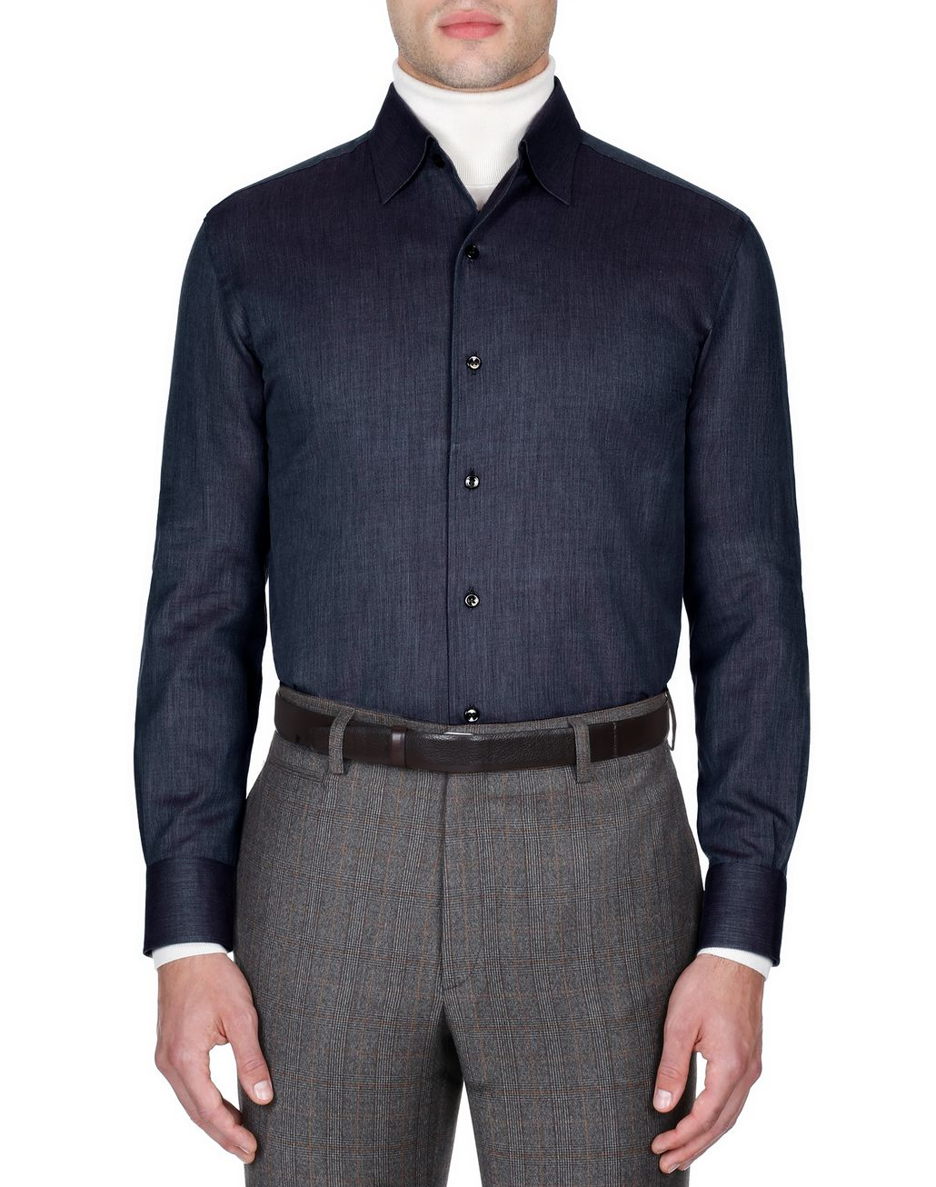 BRIONI Navy Blue Slim Fit Shirt Leisure shirt Man r