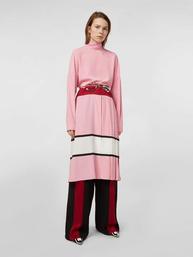 Marni Dress in washed crepe with pleated bottom Woman - 1