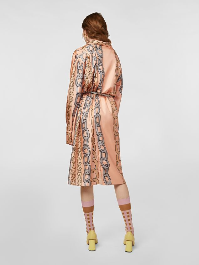 Marni Dress in silk twill with Chaine print Woman