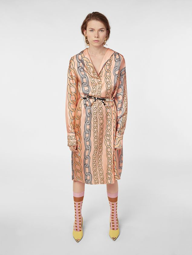 Marni Dress in silk twill with Chaine print Woman - 1