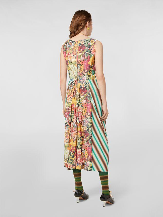 Marni V-neck dress in faded striped cotton Woman