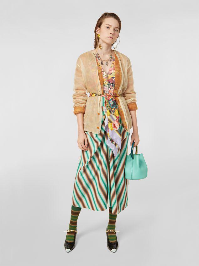 Marni V-neck dress in faded striped cotton Woman - 1