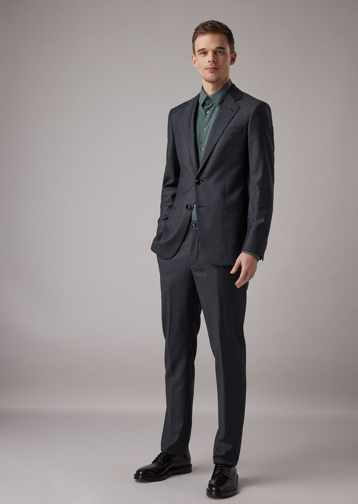 841c649a966 Slim-fit half-canvas woven twill Soho suit