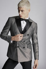 DSQUARED2 Silver Textured London Blazer JACKET/BLAZER Man