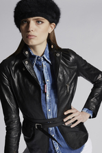 DSQUARED2 Calf Leather Stephaine Kiodo And Zips Wrap Blazer Leather outerwear Woman
