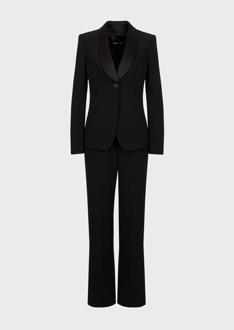 Crepe tuxedo pure silk jacket