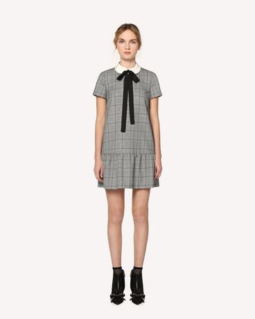 REDValentino Online Exclusive  Prince of  Wales dress with rounded collar and bow