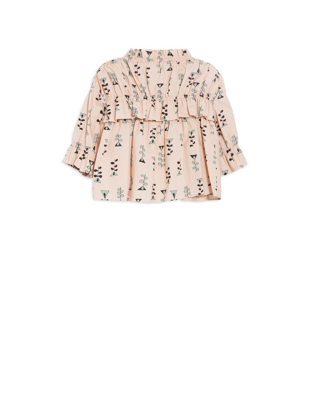 Marni COTTON POPELINE SHIRT WITH ALLOVER VINE PRINT AND VOLANT Woman