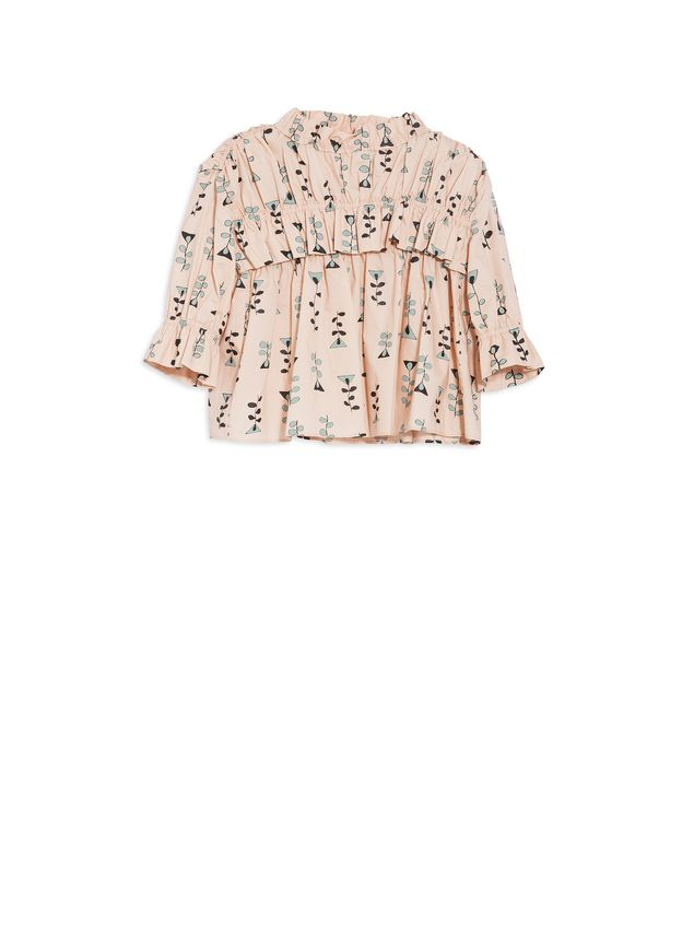 Marni COTTON POPELINE SHIRT WITH ALLOVER VINE PRINT AND VOLANT Woman - 1