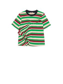 "Marni Cotton stripes jersey t-shirt with ""ruches"" on the front Woman"