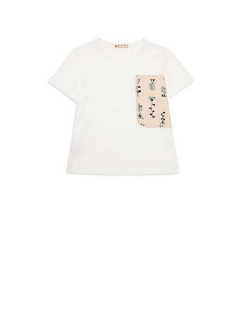 Marni Cotton t-shirt with Vine print pocket  Woman