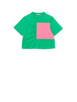 Marni Green cotton t-shirt with decorative insert in contrasting color Woman