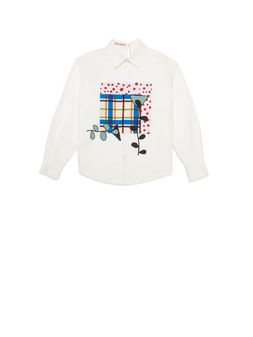 Marni White cotton shirt with print on the front Woman
