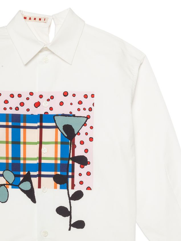 Marni White cotton shirt with print on the front Woman - 4