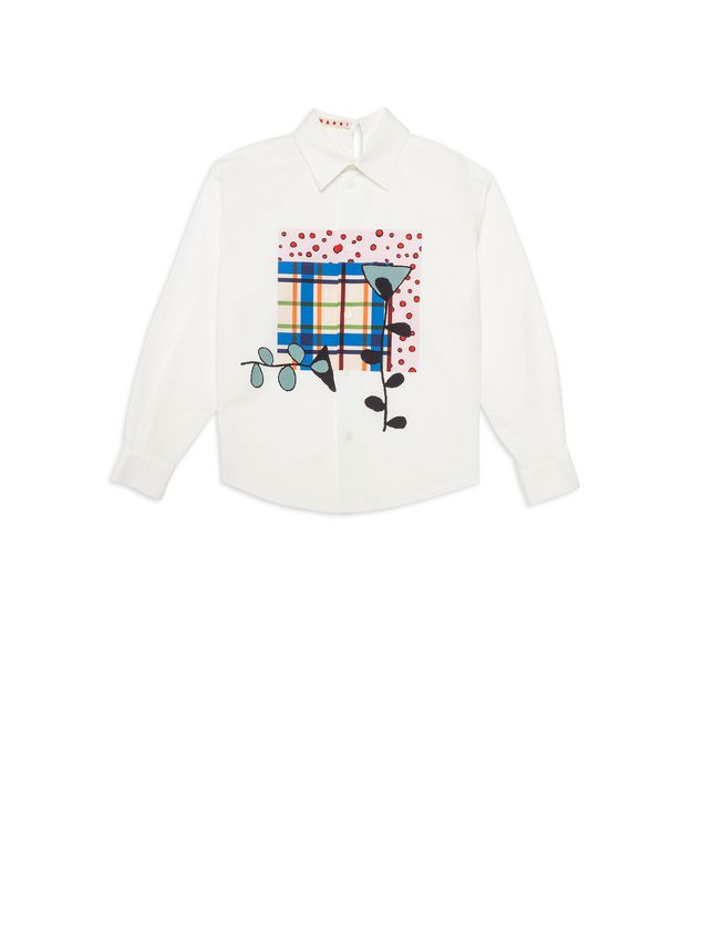 Marni White cotton shirt with print on the front Woman - 1