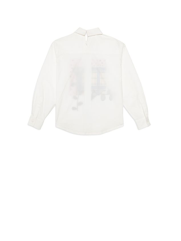 Marni White cotton shirt with print on the front Woman - 3