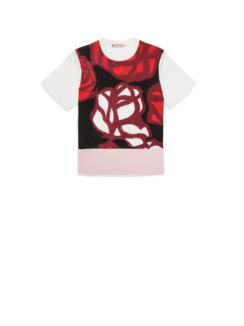 Marni Cotton T-shirt with Roma Print Woman