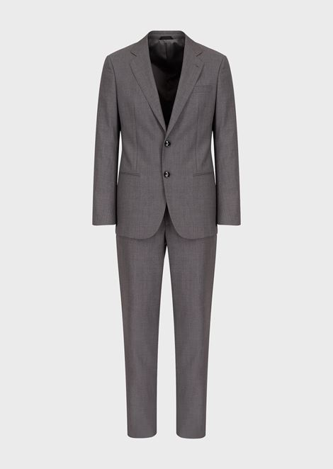 Slim fit Soho line half-canvas suit in wool and cashmere gabardine