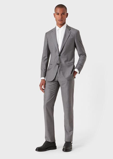 Slim fit Soho range half-canvas suit in wool and cashmere gabardine