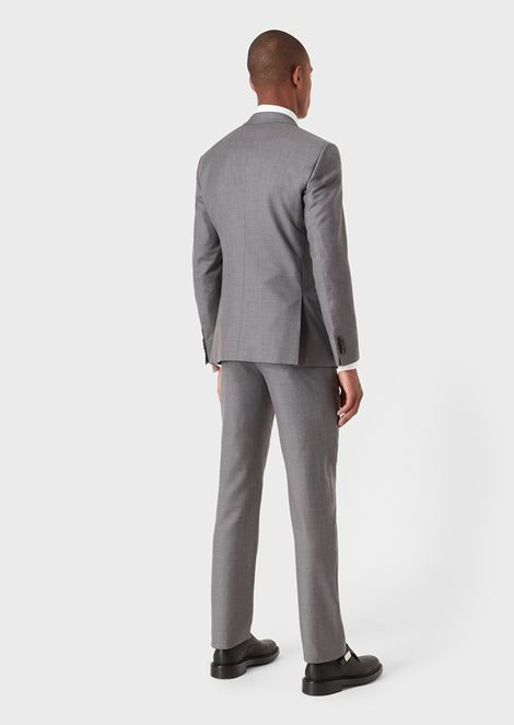 Slim fit Soho range half-canvas suit in wool and cashmere gabardine