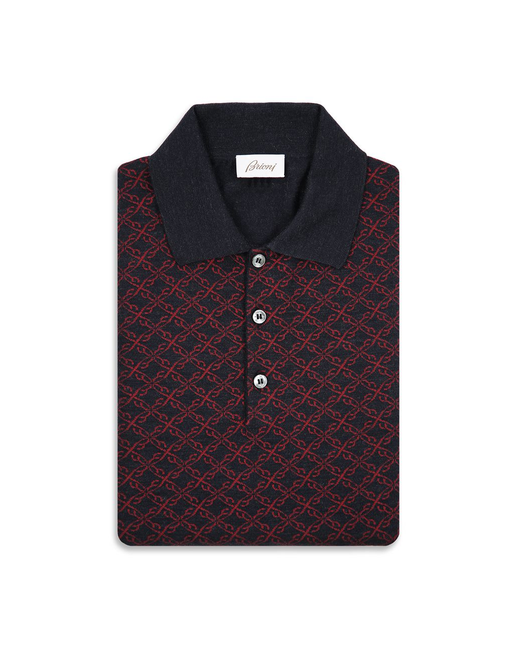 BRIONI Blue Logo Pattern Long Sleeves Polo Shirt Knitwear Man e