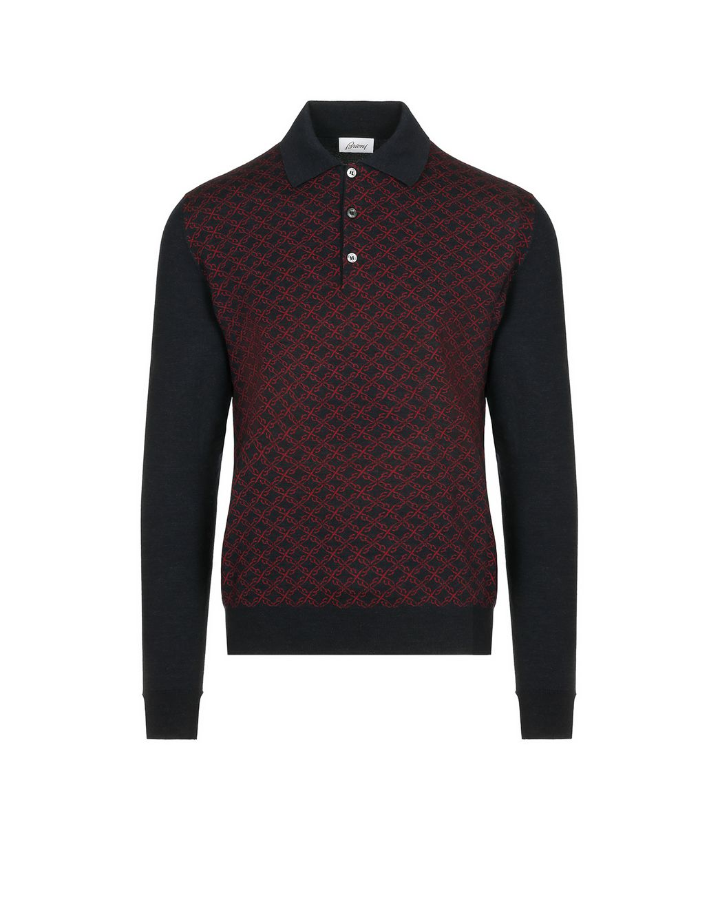 BRIONI Blue Logo Pattern Long Sleeves Polo Shirt Knitwear Man f