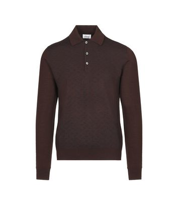 Bordeaux Logo Pattern Long Sleeves Polo Shirt