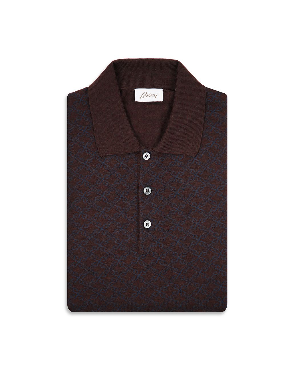 BRIONI Bordeaux Logo Pattern Long Sleeves Polo Shirt Knitwear [*** pickupInStoreShippingNotGuaranteed_info ***] e