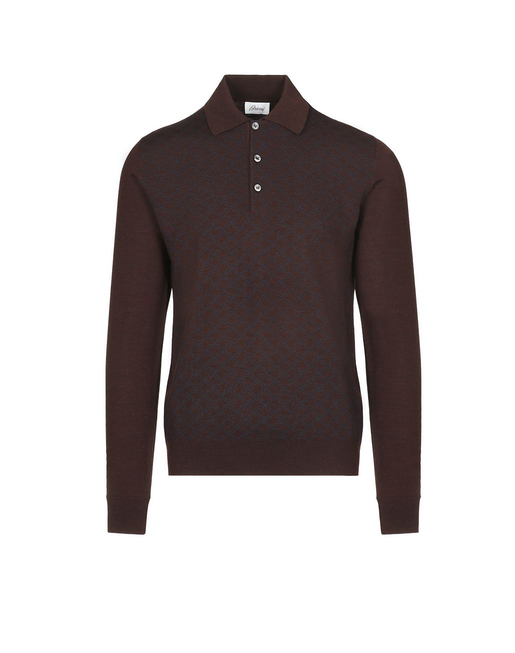 BRIONI Bordeaux Logo Pattern Long Sleeves Polo Shirt Knitwear [*** pickupInStoreShippingNotGuaranteed_info ***] f