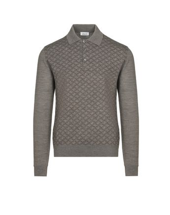 Grey Logo Pattern Long Sleeves Polo Shirt