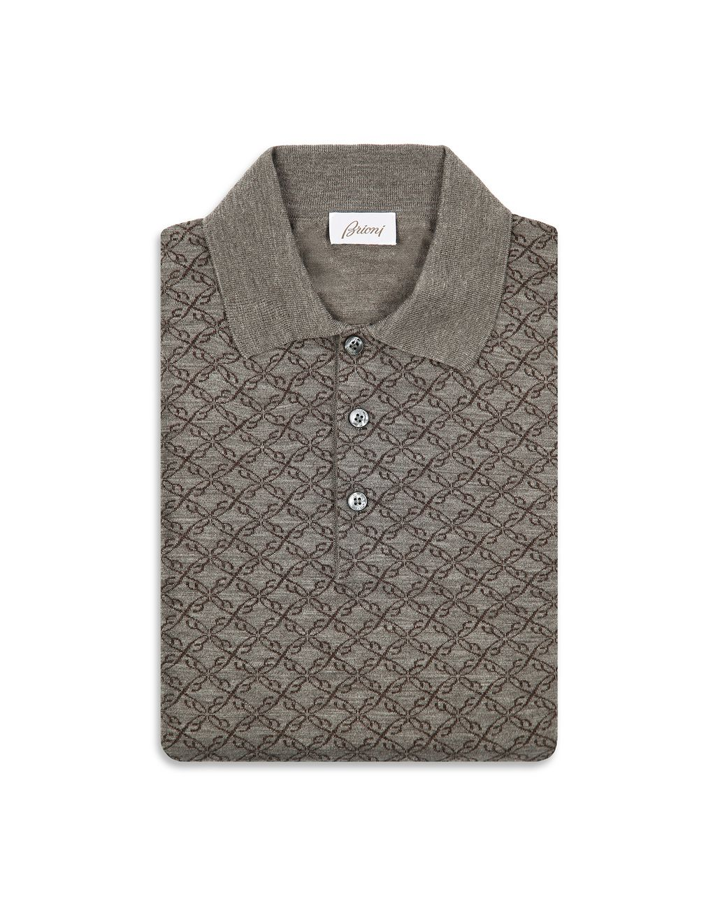 BRIONI Grey Logo Pattern Long Sleeves Polo Shirt Knitwear Man e