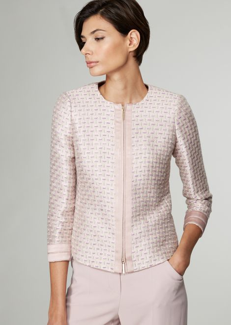 Zipped jacket in linen blend jacquard fabric