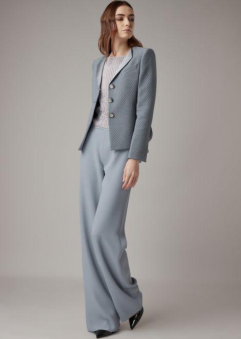 Asymmetric jacket in checkerboard-motif jacquard fabric