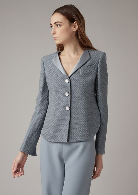 Asymmetric jacket in checkerboard-motif jacquard fabric