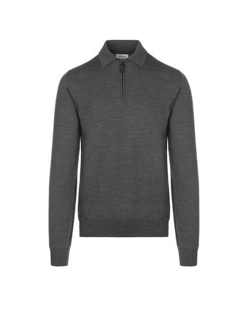 Grey Long Sleeves Polo Shirt