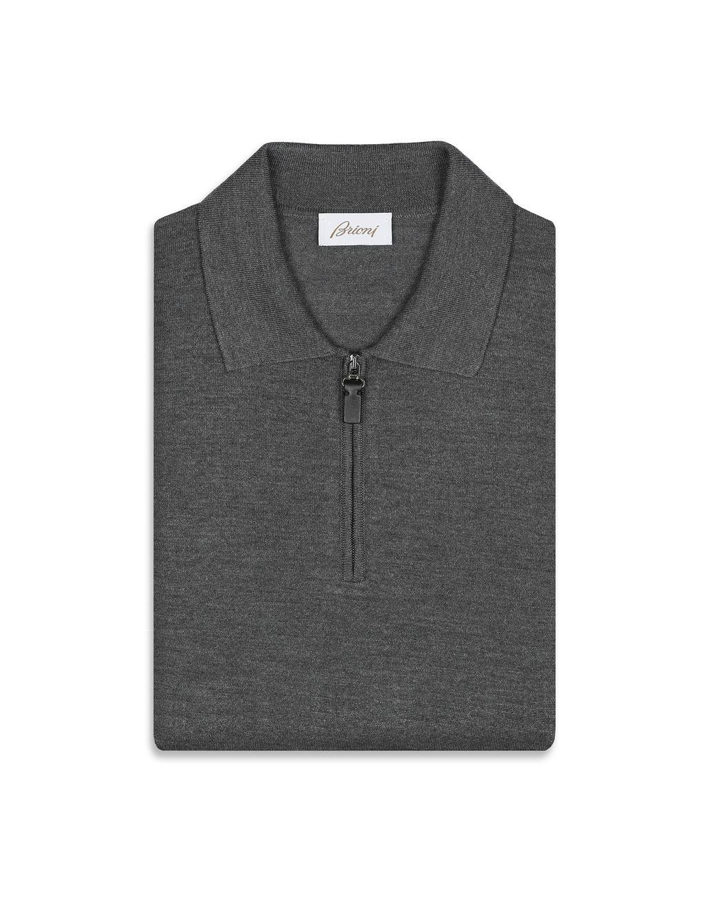 BRIONI Grey Long Sleeves Polo Shirt Knitwear [*** pickupInStoreShippingNotGuaranteed_info ***] e