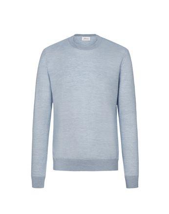 Голубой свитер с круглой горловиной