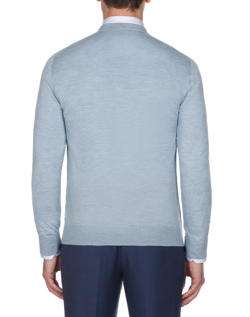 BRIONI Light Blue Crew Neck Sweater Knitwear Man d
